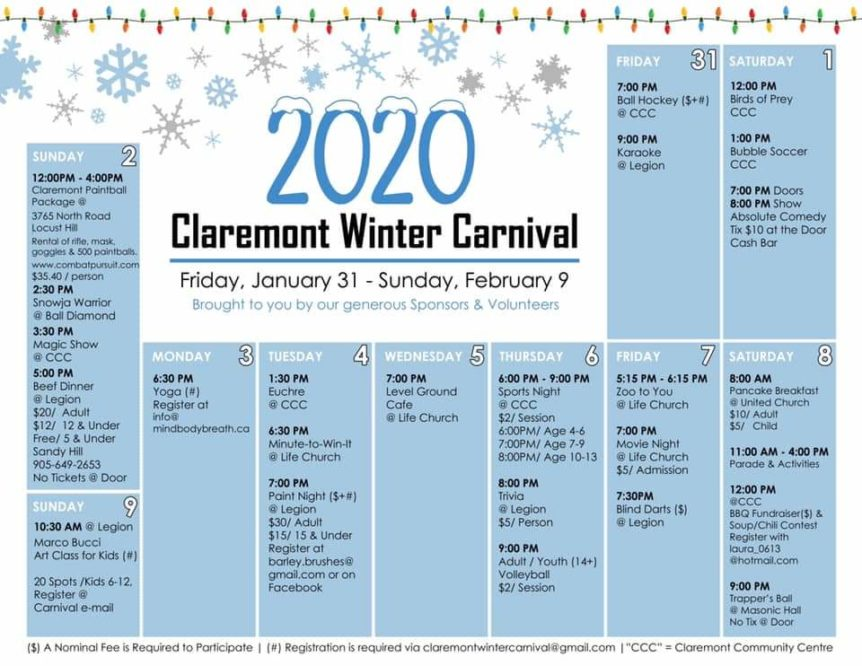 Claremont Winter Carnival 2020 Schedule